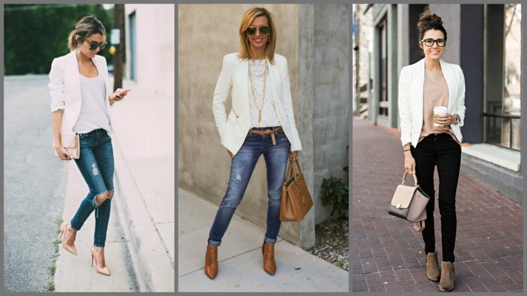 джинсы под пиджак белый классика