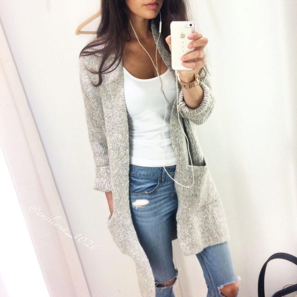 кардиган под джинсы вязанный серый