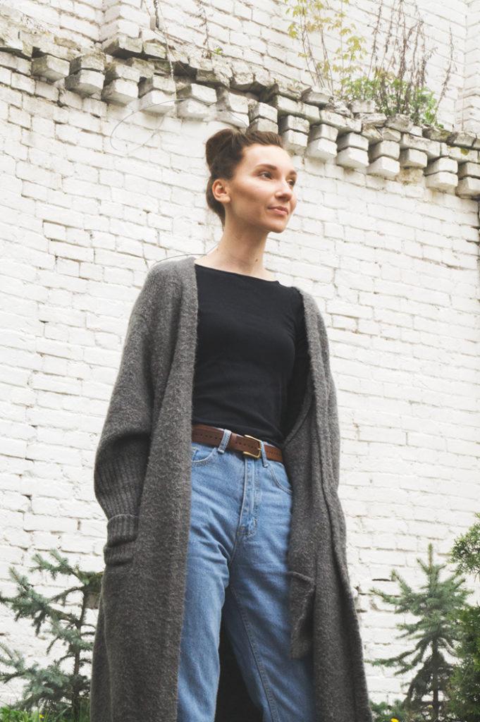 кардиган под джинсы серый вязаный