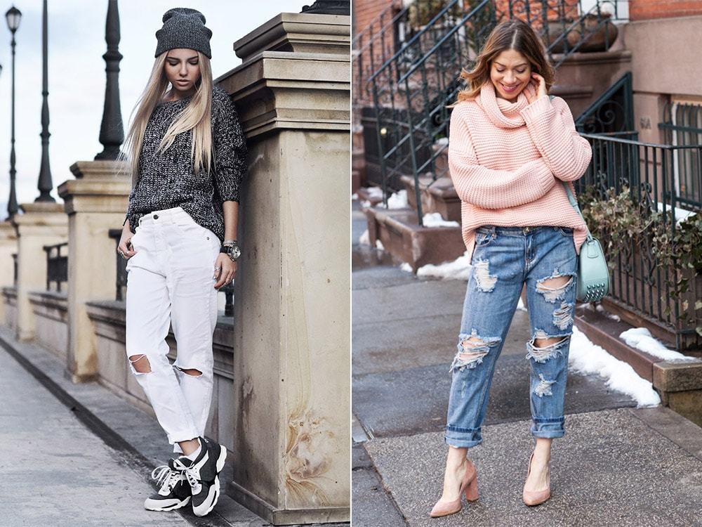 джинсы под свитера под черный под розовый