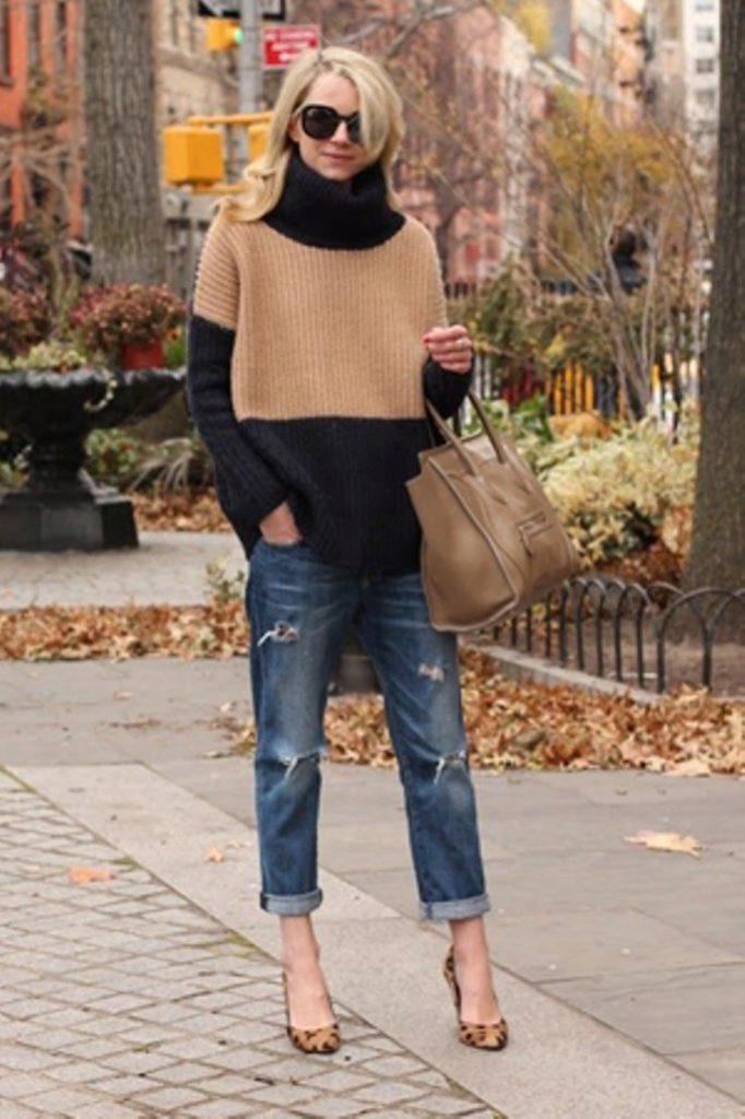 джинсы под свитер коричневый с черным под туфли