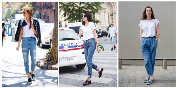 с чем носят джинсы: модные луки с ботинками