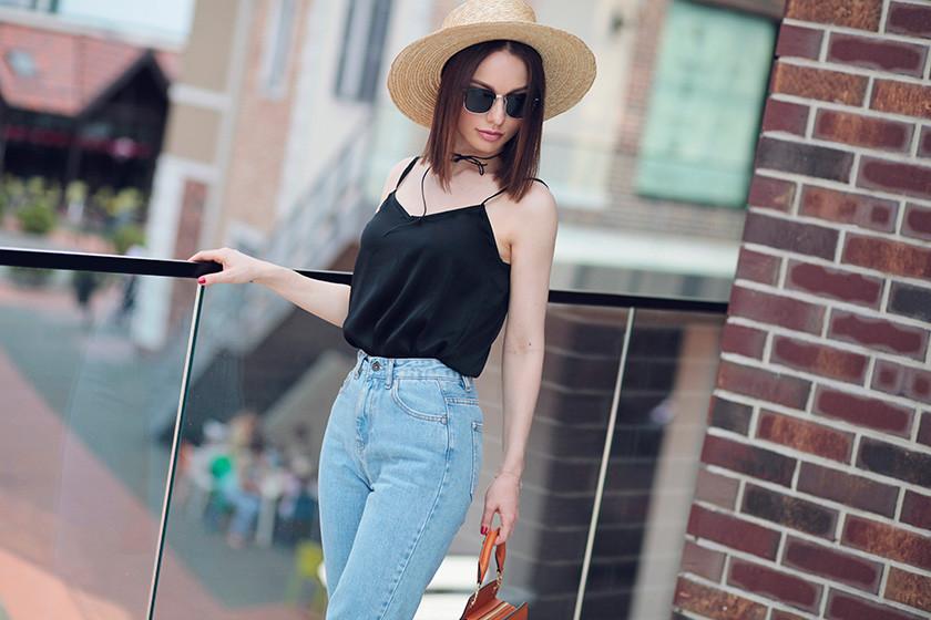 джинсы под топ черный бельевой