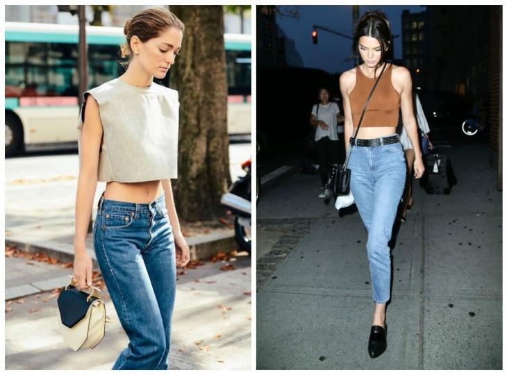 джинсы под топ серый коричневый короткие