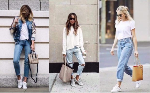 с чем носят джинсы: стильные луки с кедами