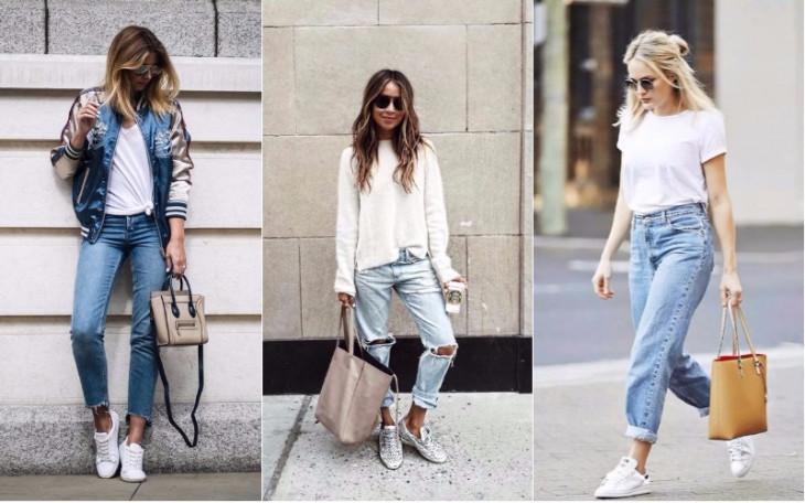 джинсы под кроссовки белые