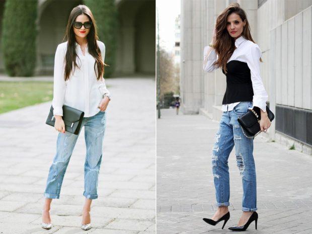 с чем носят джинсы: с туфлями