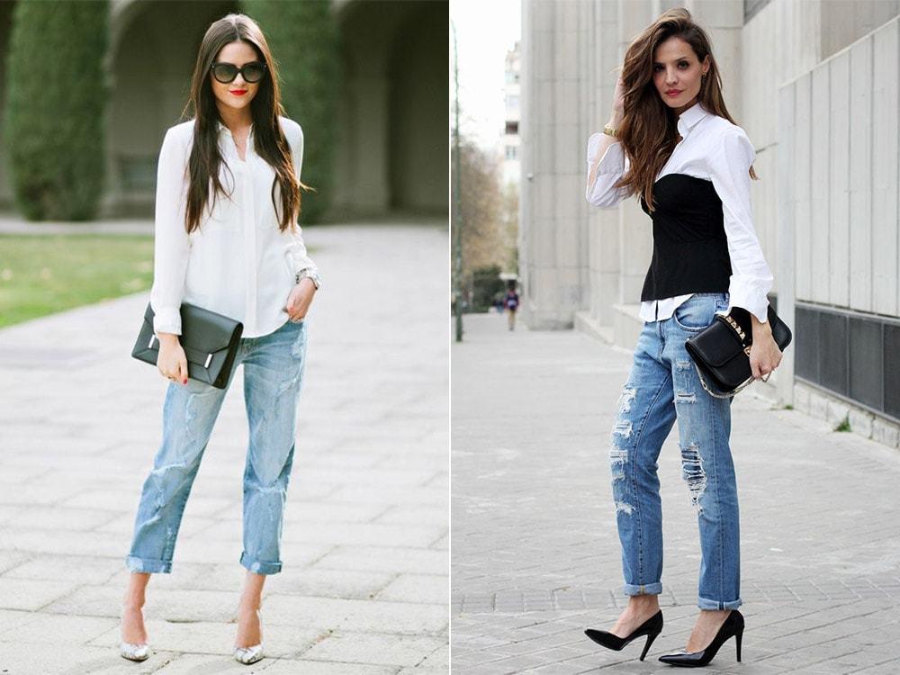 джинсы под туфли на каблуке