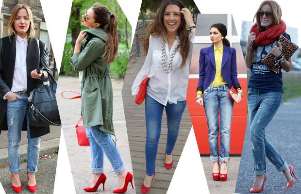 с чем носят джинсы: с красными туфлями