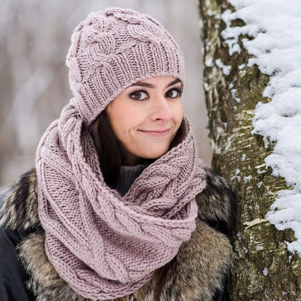 шапка и шарф 2019-2020: бежевый комплект
