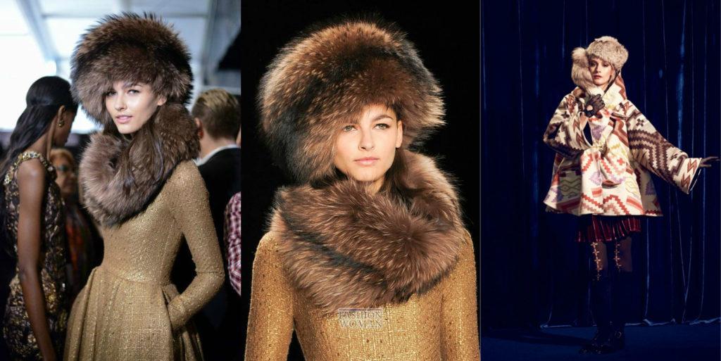 шапка осень-зима: меховые и шарфы объемные