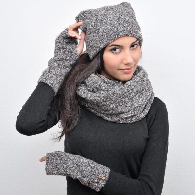 шапка 2020-2021: серая с ушками шарф кольцо
