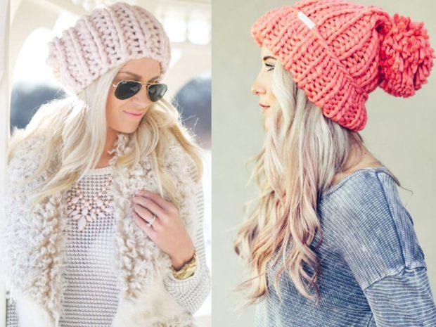 шапка осень-зима: крупная вязка светлая розовая