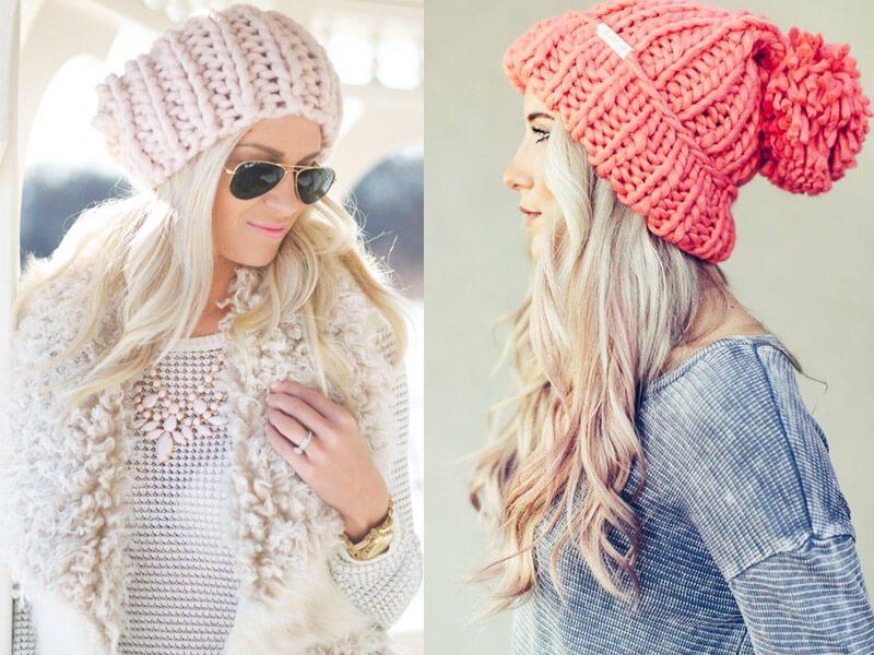 крупная вязка светлая розовая шапка