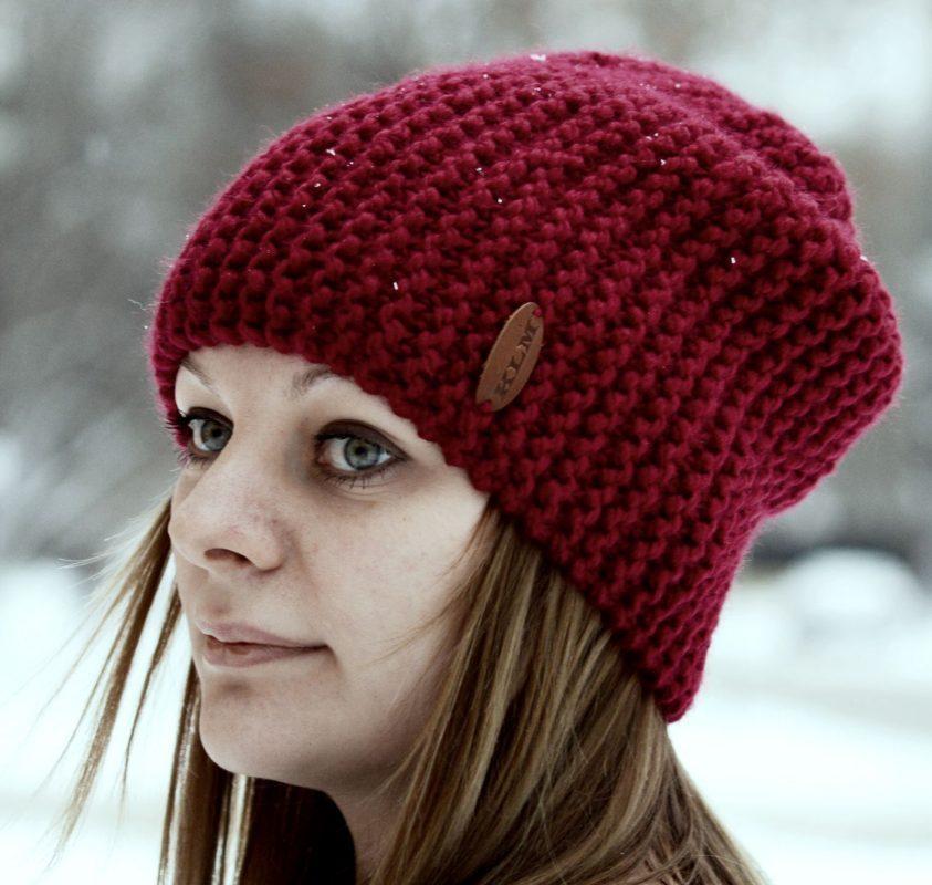 шапка бини бордовая вязаная