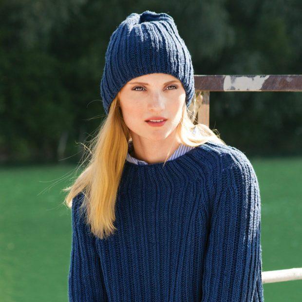 шапки осень-зима: бини синяя
