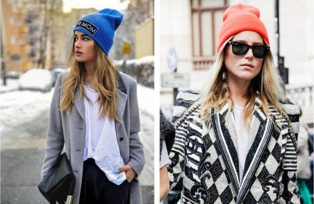 шапки осень-зима: бини синяя розовая трикотаж