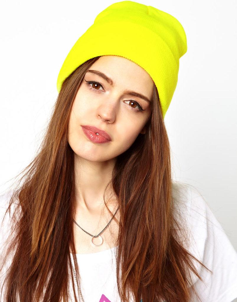 шапки осень-зима: бини желтая трикотаж