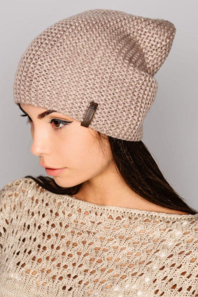 шапки осень-зима: бини бежевая