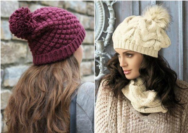 шапка осень-зима: с бубоном бордовая белая крупная вязка