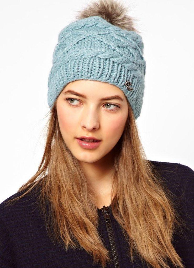 шапка осень-зима: с бубоном голубая меховой бубон