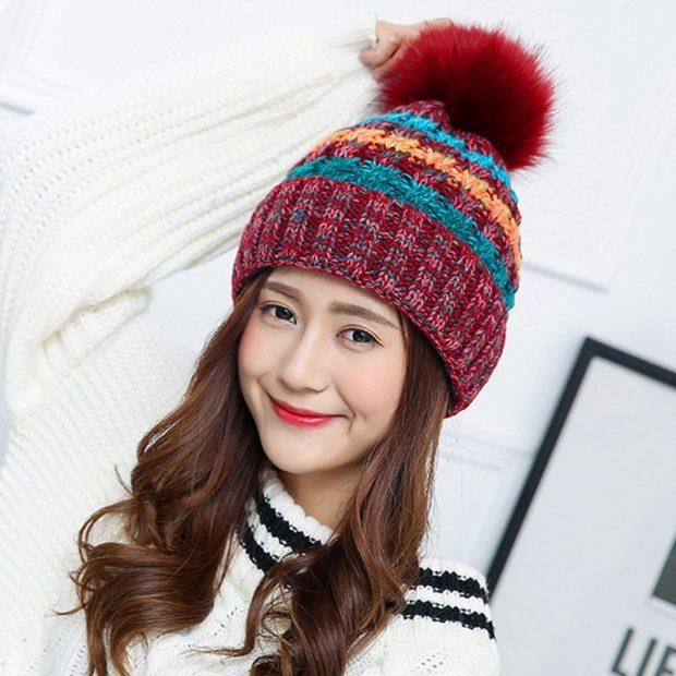 шапка осень-зима: с бубоном цветная