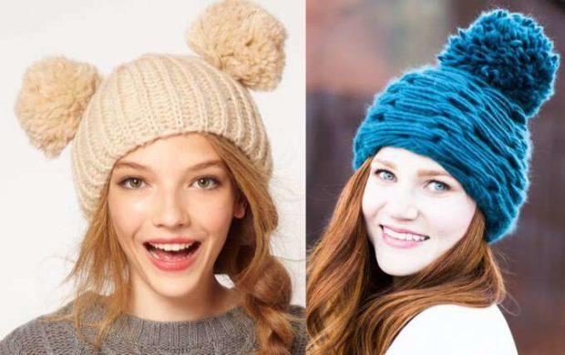 шапка осень-зима: с бубоном бежевая синяя крупная вязка