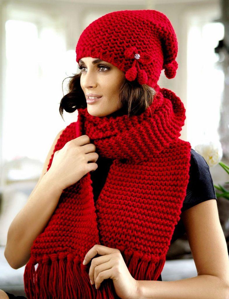 розовая шапка шарф