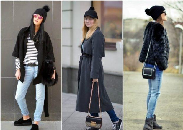 шапка осень-зима: с бубоном черная бубон меховой
