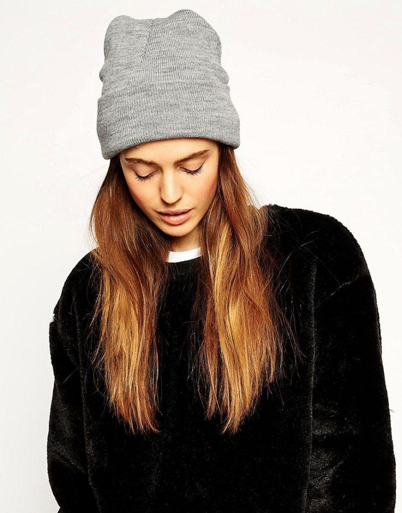шапка осень-зима: с отворотом серая бини