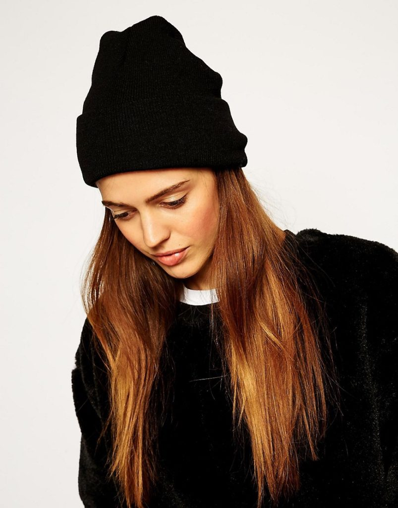 шапка осень-зима: с отворотом черная бини