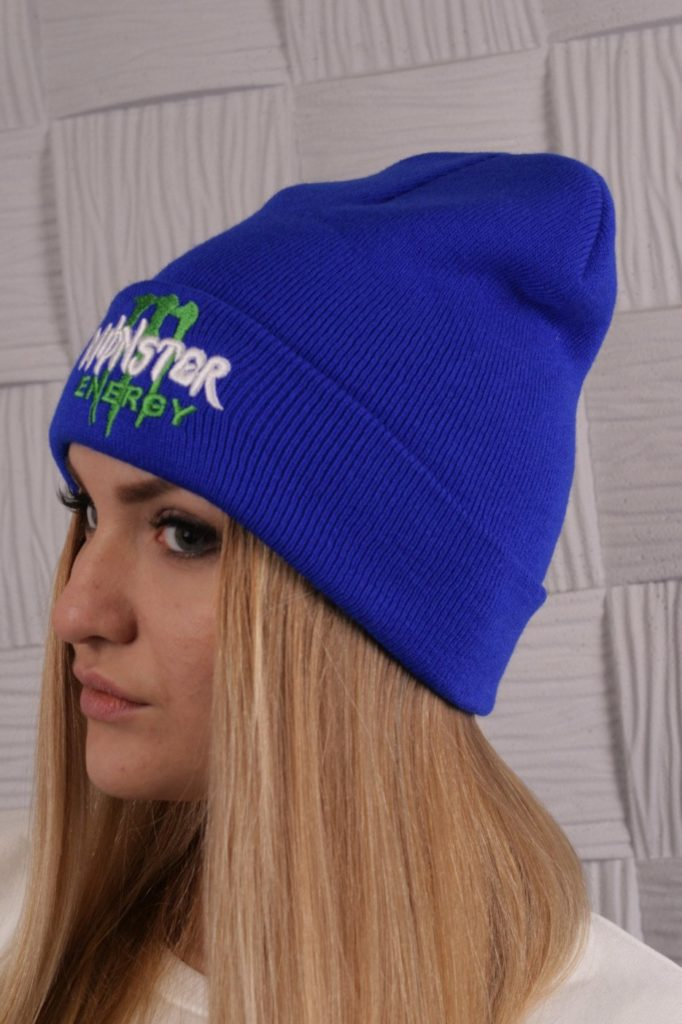 шапка осень-зима: с отворотом синяя бини с надписями