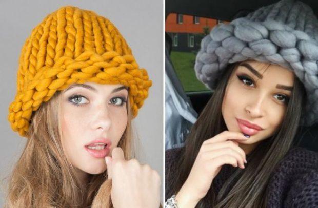 шапки осень-зима: с отворотом крупная вязка желтая серая