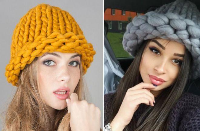 шапка с отворотом крупная вязка желтая серая