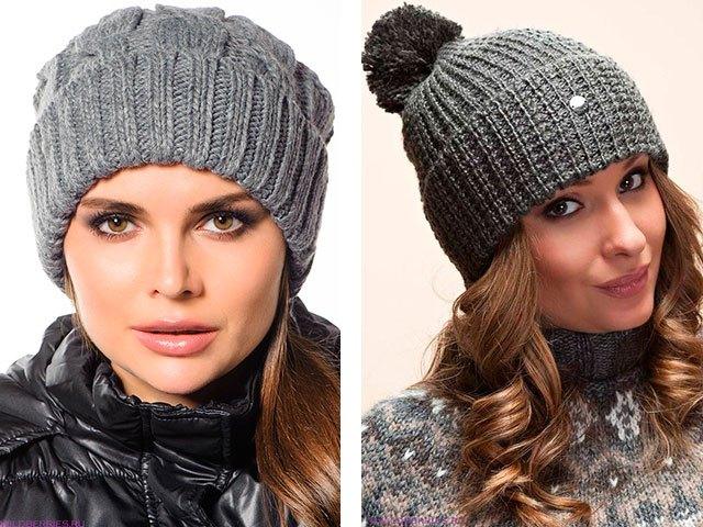 шапки осень-зима: с отворотом серая серая с бубоном