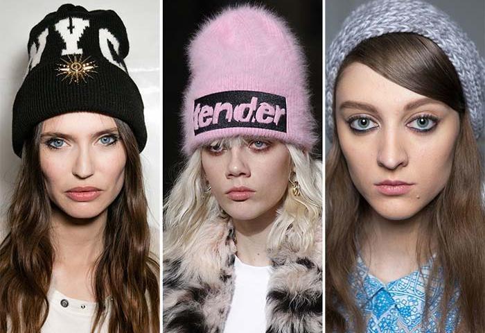 шапки 2019-2020: черная с надписям розовая с буквами серый берет