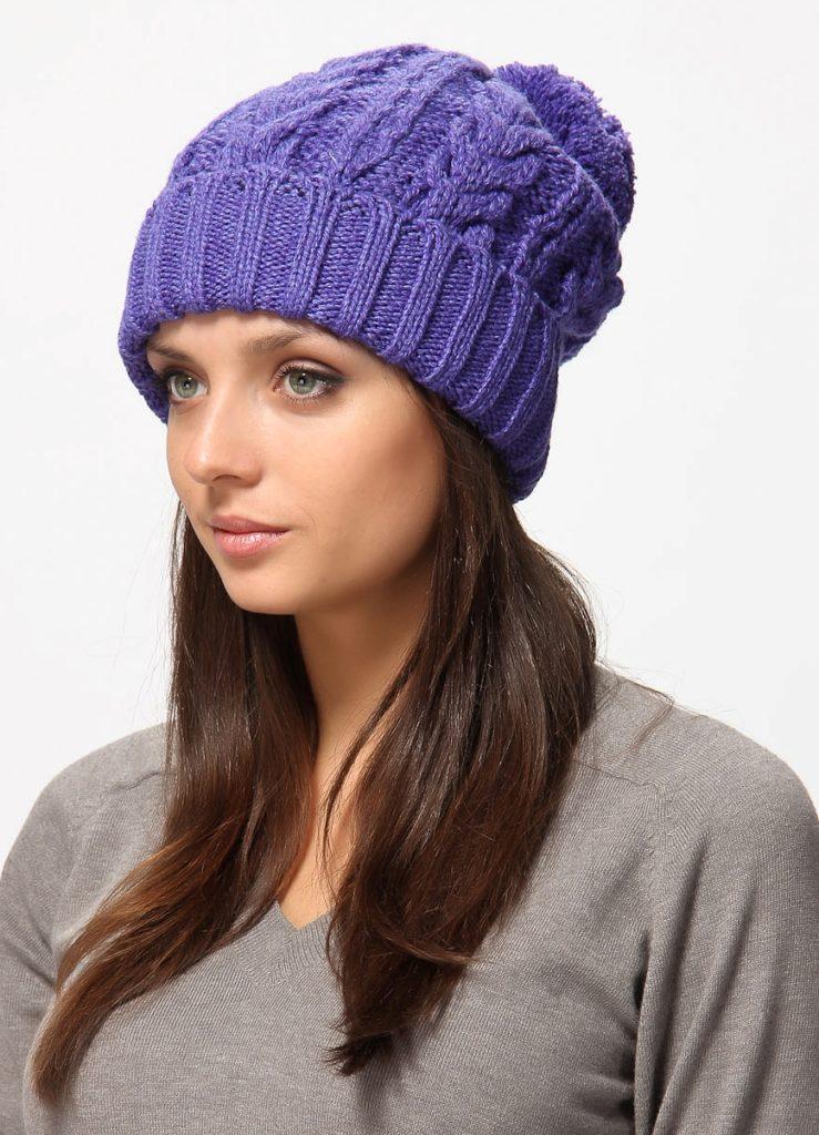 шапки и шарфы: с отворотом синяя