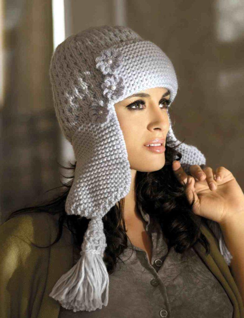 шапки и шарфы: ушанка вязаная