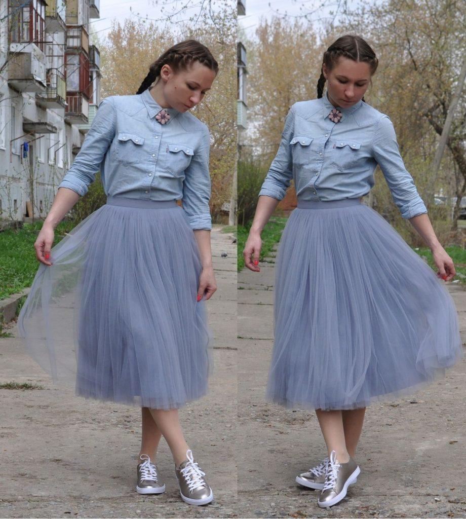 юбка пачка под рубашку и кеды