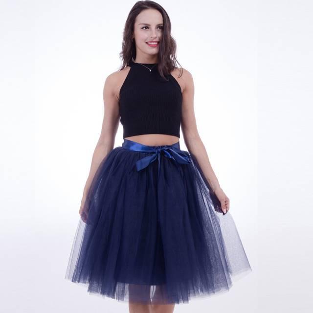 синяя юбка пачка под топ высокий