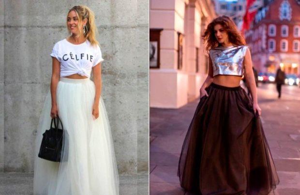 с чем носят юбку пачка: длинная под топы белый серебристый