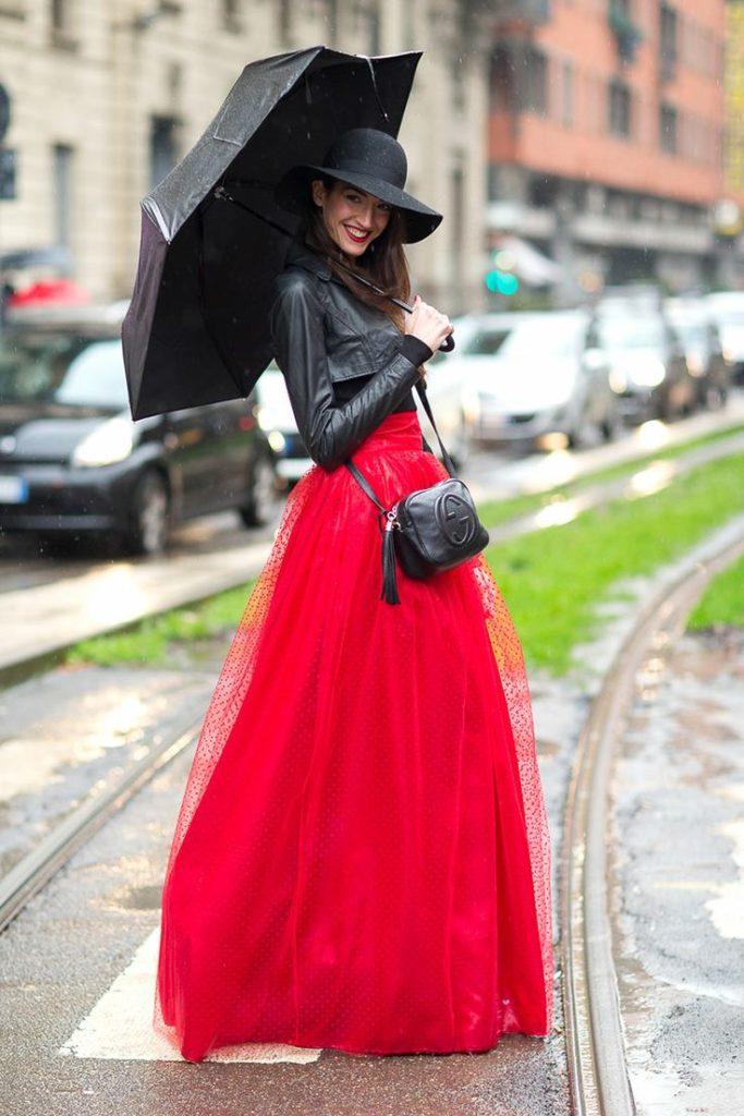 юбка пачка длинная под кожаную куртку фетровую шляпку