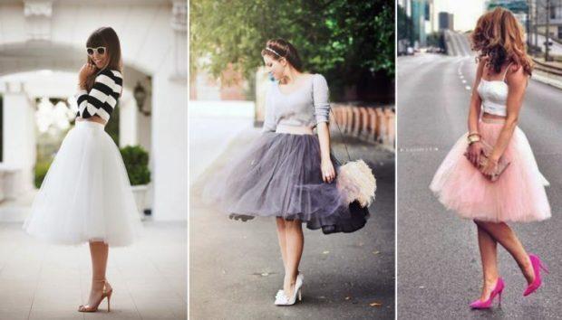 с чем носят юбку пачка: нарядная под полосатую кофту серую белую майку