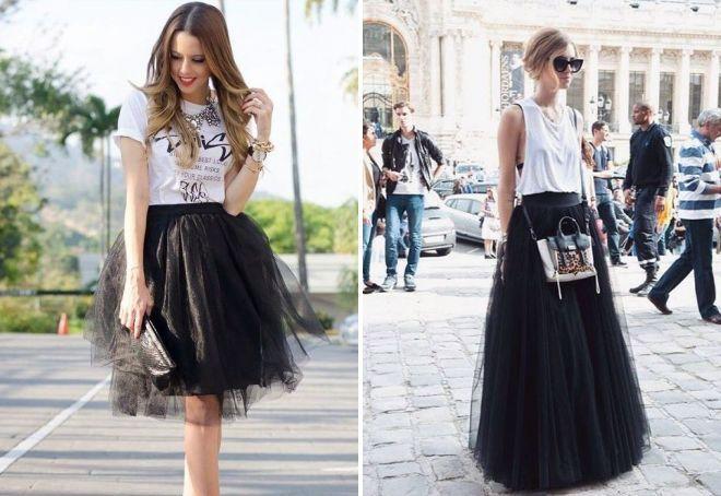 черная юбка пачка под футболки белые под майку