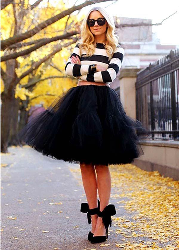 черная юбка пачка под полосатую кофту