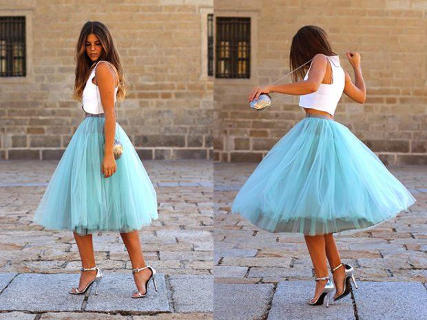 с чем носят юбку пачка: голубая под топ белый каблук шпилька