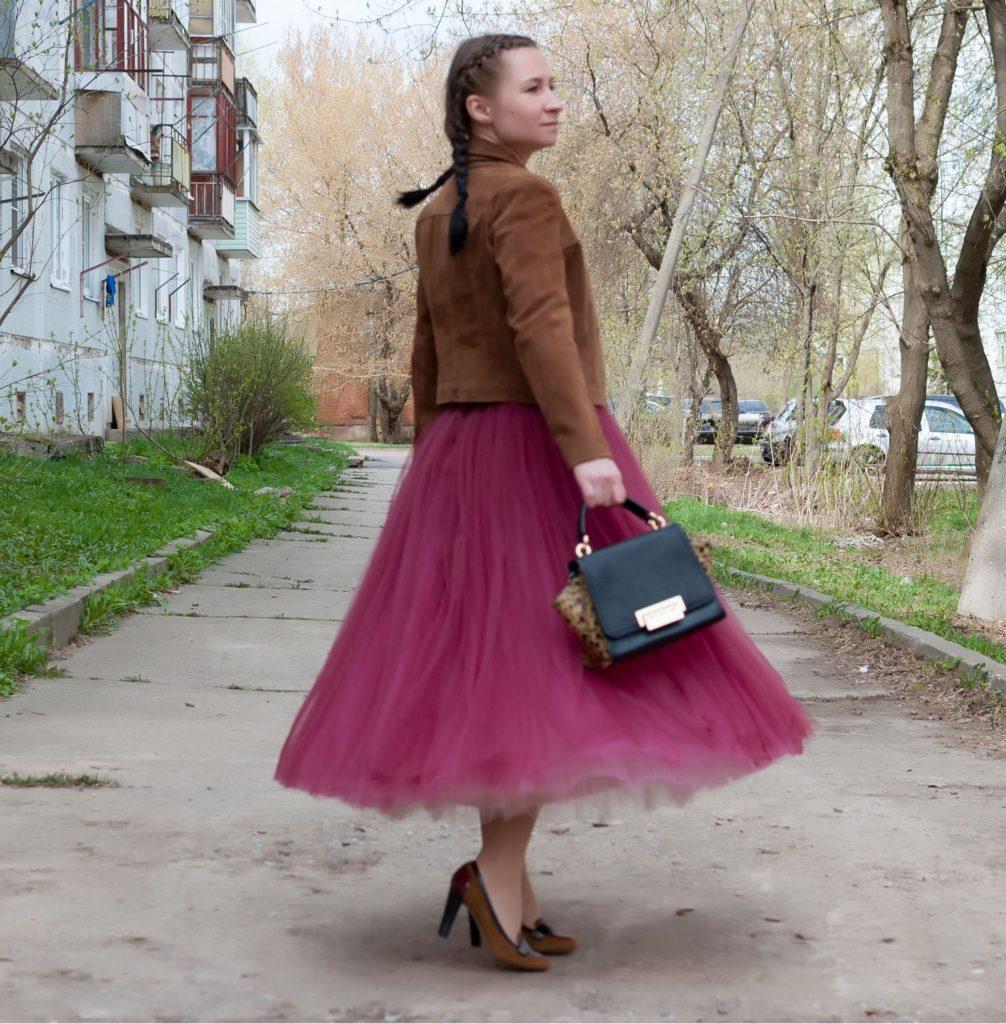 юбка пачка под жакет коричневый