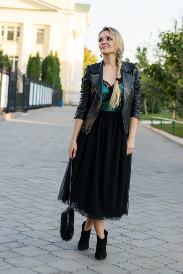 юбка пачка с чем носить: под кожаную куртку
