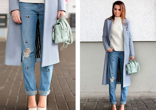 джинсы рваные под пальто серое