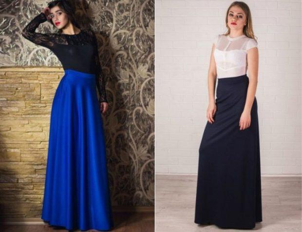 синяя юбка макси под блузку черную темно-синяя юбка макси под белую блузку
